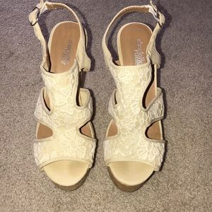 Cream lace cork wedges